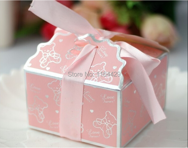 free shipping wholesale 20pcs pink full moon baby candy boxes creative small bear wedding favors gift
