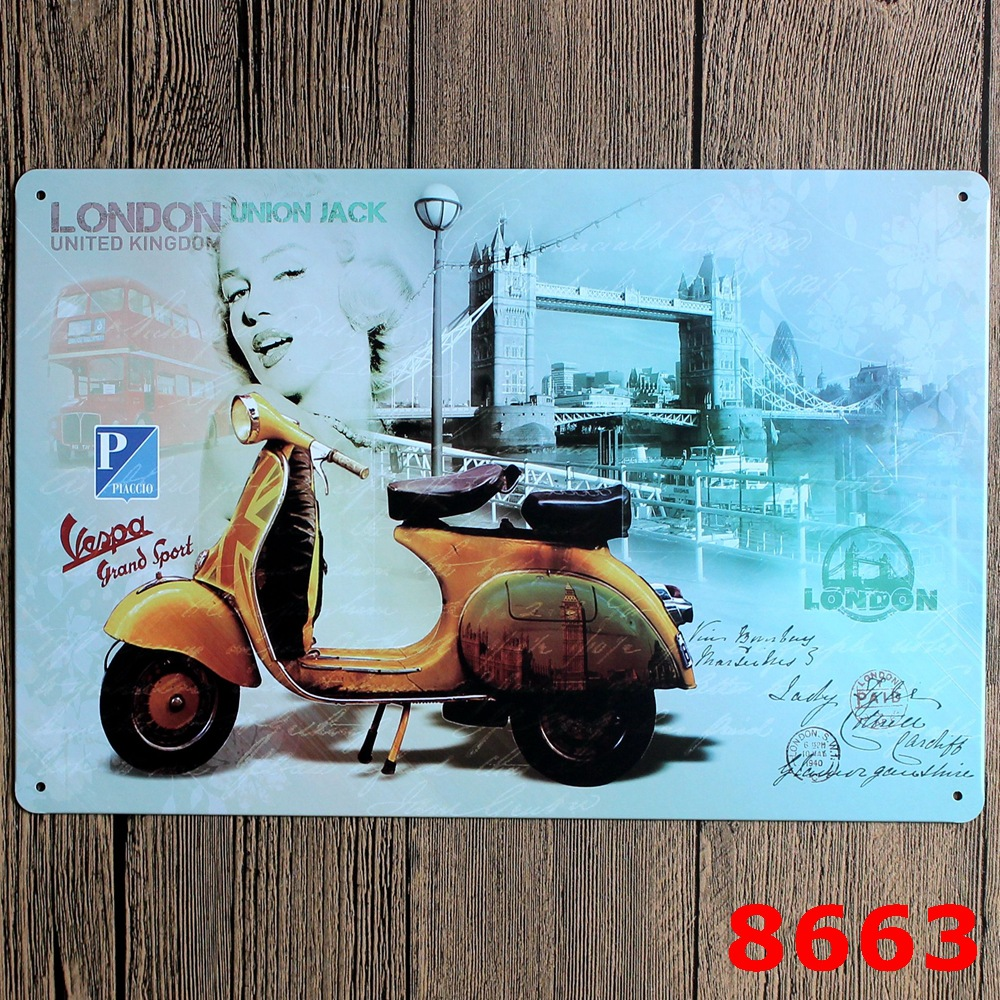 30X20CM London Yellow Motor Vintage Home Decor Tin Sign for Wall ...