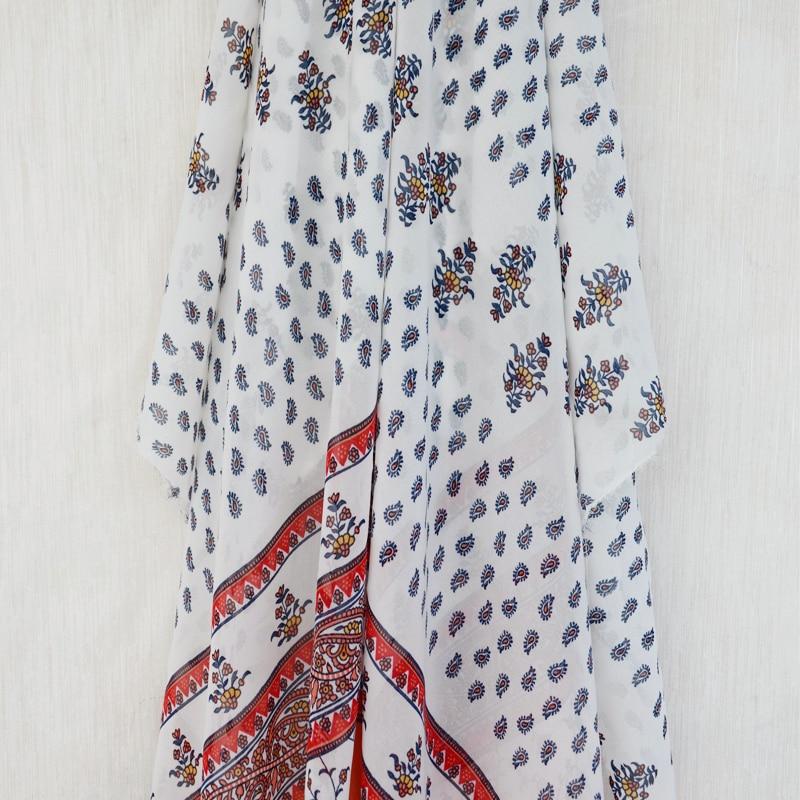 ②Estilo de Bohemia estilo flor impresa gasa para el vestido del ...