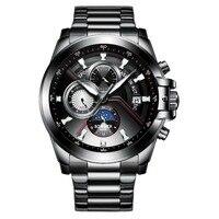 Многофункциональные армейские часы Switzerland BINGER 2019 плавательные автоматические часы мужские Календарь Неделя Луна фаза сапфировый, светящий