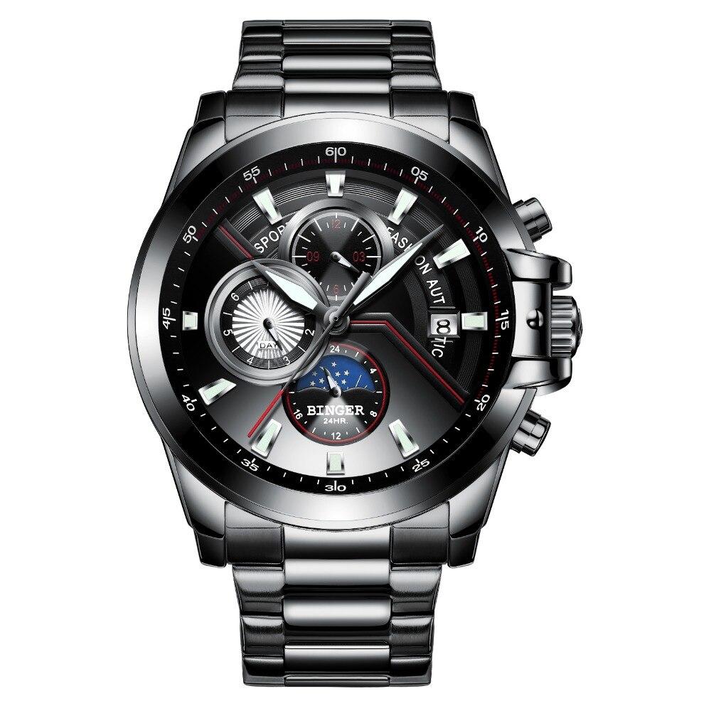 Multifunction Army Watch Switzerland BINGER 2019 Swimming Automatic Watch Men Calendar Week Moon phase Sapphire Luminous hands|Sports Watches| |  - title=