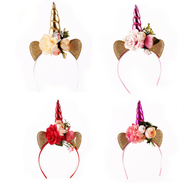 5colors Floral Unicorn Horn Headband Unicorn Crown Flowers Unicorn Hairband Birthday Party Gift