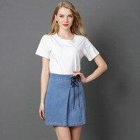Boutique hot sale! Famous original brand new denim skirt with strappy skirt Original large size women's high waist half A skirt