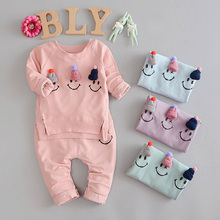 2017 spring three small hat kids's clothes ladies sweater set babies lengthy sleeve kids's go well with