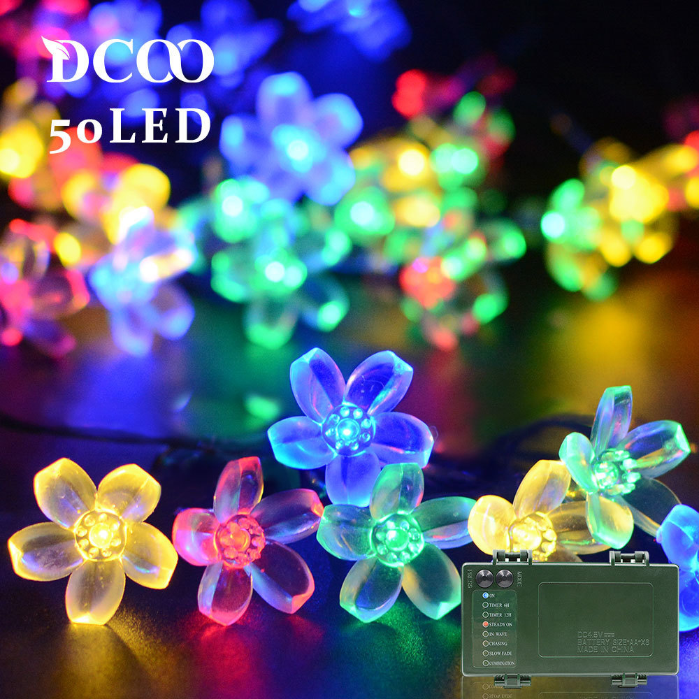 Dcoo String Lights Battery Operated Timer 50 Led Blossom Flower