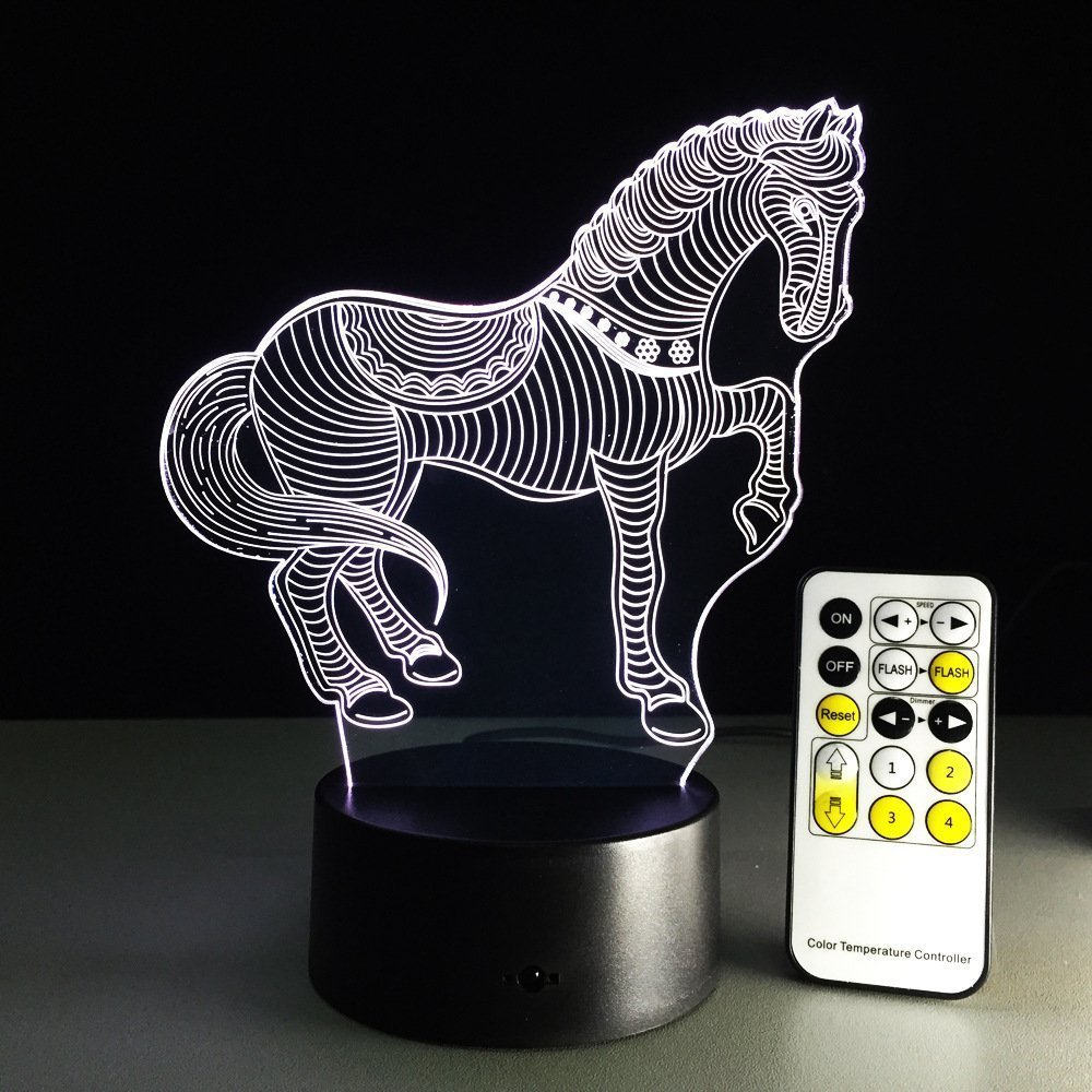 Horse 3D Optical Illusion Lamp 7 Colors Change Touch Button 15 Keys Remote Control Creative Art Visual Night Lamp Free Drop Ship