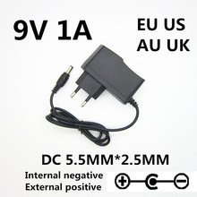 1 pces 9 v volt 1a adaptador de fonte de alimentação 9 v 1a 1000ma universal adaptador de alimentação inversa polaridade fora positivo dentro negativo