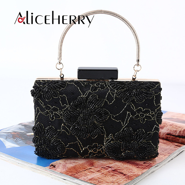 fa7ff10570b9 Luxury Famous Designers Evening Bag Black Beading Flower Holiday Party  Clutch Purse Bag Day Clutches Prom Ladies Vintage Handbag