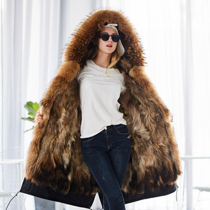 Image 4 - Mao mao kong  Winter Woman natural fur overcoat plus size Women parkas black raccoon fur lining X long warm jacket coats