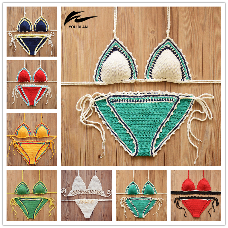 2018 Hot Sale Crochet Bikini Sexy Swimwear Women Halter Knitted Swimsuit Bathing Suit Brazilian Bikinis biquini maillot de bain new high waist swimsuit sexy halter string strappy bikini 2016 swimwear women cutout bathing suit biquini maillot de bain v190b