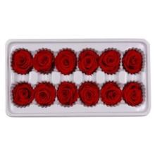 12Heads/Box Preserved Flowers Flower Immortal Rose 3-4 cm Diameter Mothers Day Gift Eternal Life Flower Material Gift Box