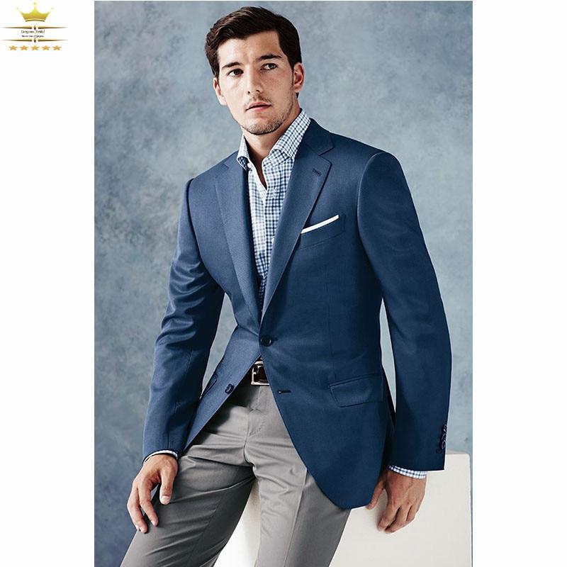Custom Made Mens Tuxedos Navy Blue Suits With Khaki Pants