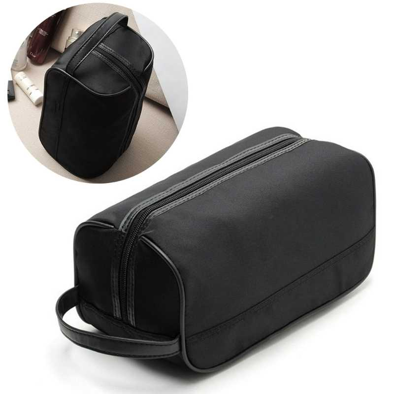 4582f8cfda0b Portable Men Black Travel Waterproof Makeup Toiletry Bag Wash Shower ...