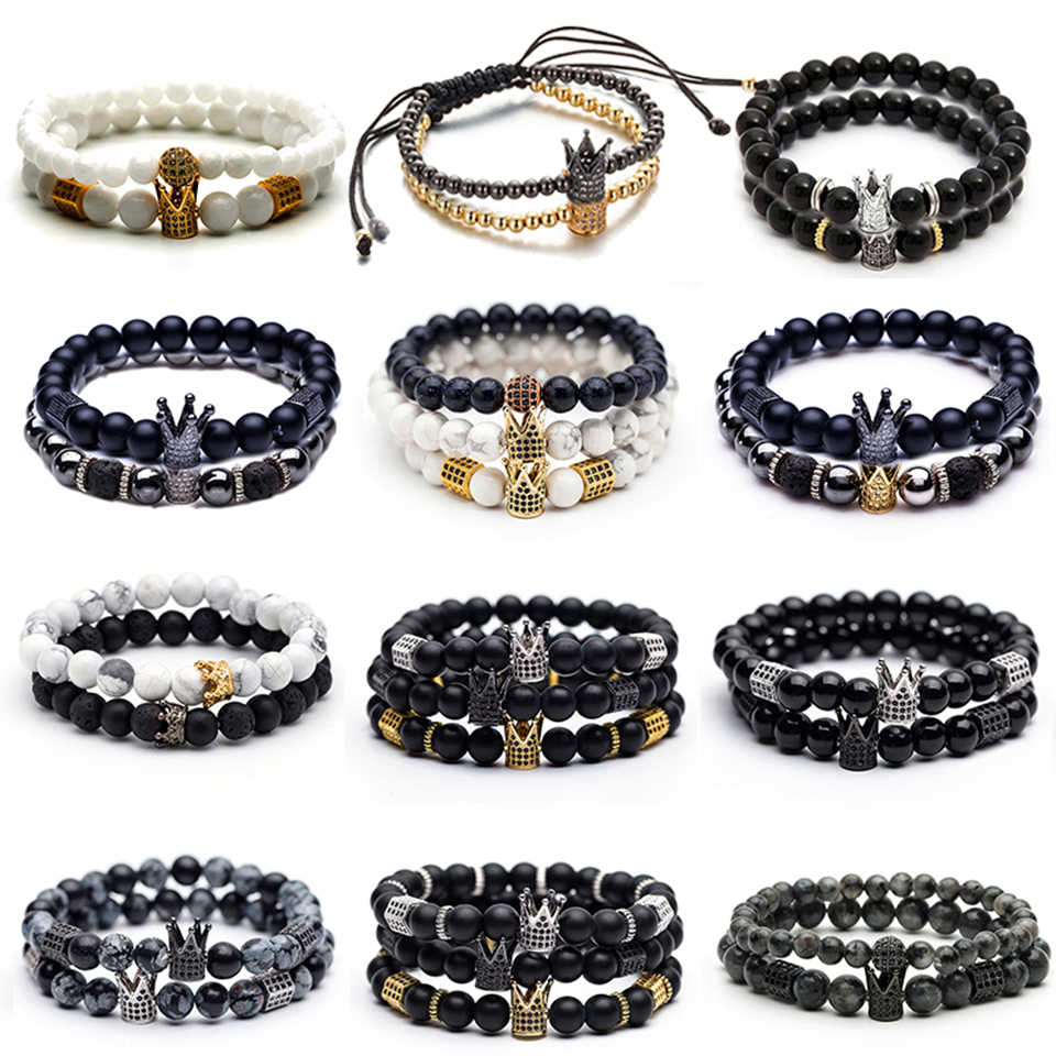 New trendy black white stone beaded bracelet Fashion gold silver color alloy crown bracelet for women men couple bangles jewelry