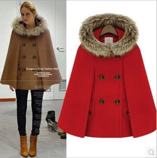 Wool Cape Coat With Hood