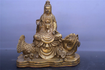 Chinese old bronzes Riding fish Guanyin copper Statue