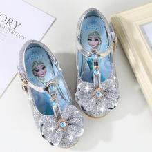Свадебные туфли для девочек; блестящие новые брендовые туфли на высоком каблуке; детские сандалии принцессы Эльзы; Танцевальная детская модная обувь для вечеринок с бантом