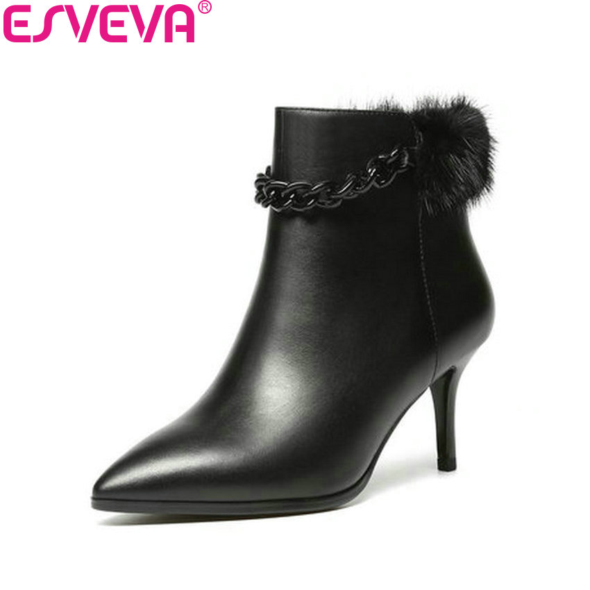 ESVEVA 2017 Women Boots Thin High Heel Handmade Short Plush Ankle Boots Pointed Toe Cow Leather+PU Black Ladies Boots Size 34-39 esveva 2016 sequined platform women boots autumn fashion boots wedges high heel leisure round toe ladies ankle boot size 34 39
