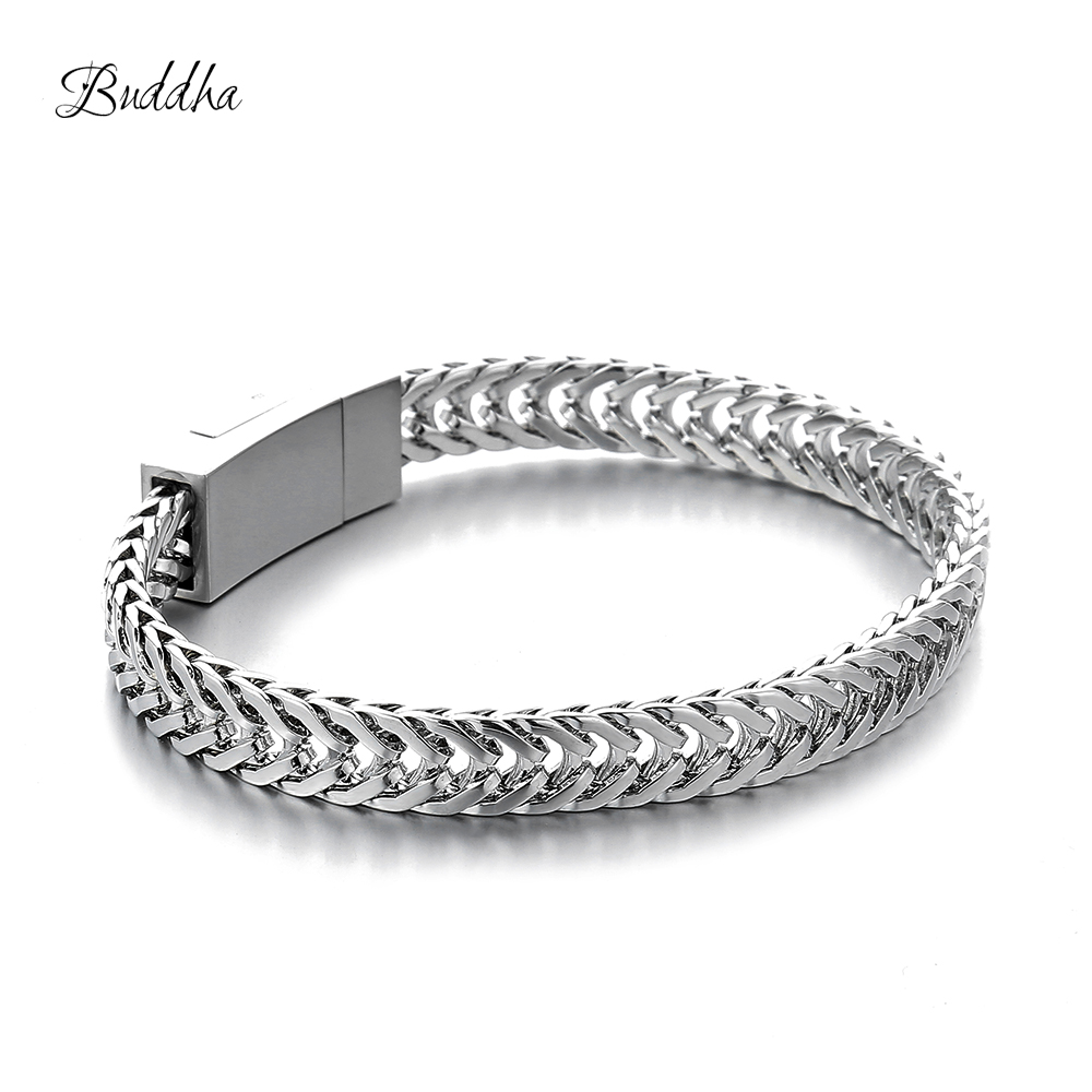 Pulseira Masculina Buddha Bracelets Silver Tone Link Chain Bracelets Bangle for MENS Jewelry Gift Good Quality Free Shipping buy mens string bracelets