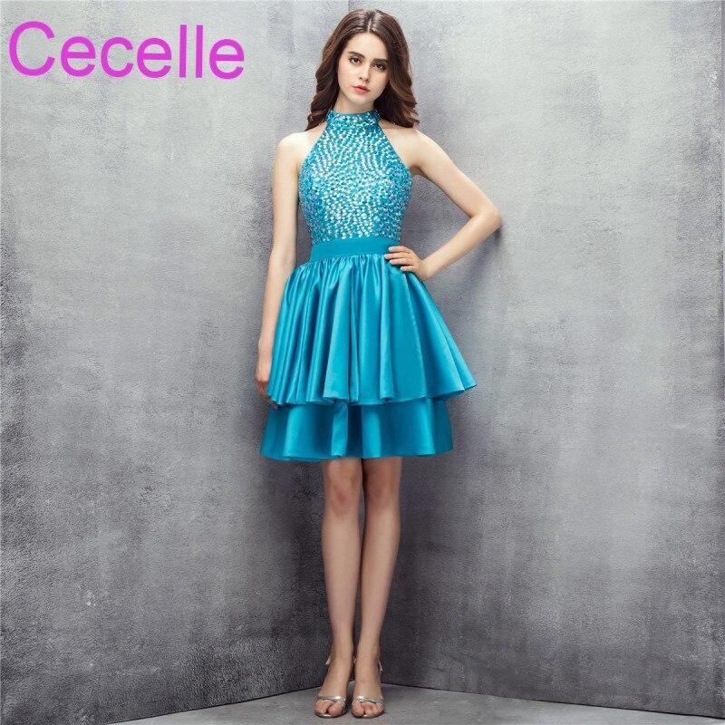Turquoise Short   Cocktail     Dresses   2019 Beading Top Satin Skirt Sleeveless A-line Knee Length Girl Informal Short Prom Party   Dress