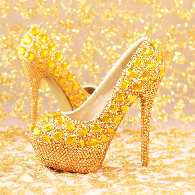 ФОТО Gold luxury platforms pumps shoes for woman round toe super high heeled crystal gold rhinestones party wedding shoes TG870