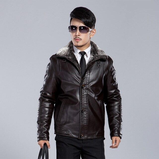 winter men's warm overcoat Motorcycle Jaqueta Masculinas Inverno Couro leather Jacket Men plus thick velvet jacket coat