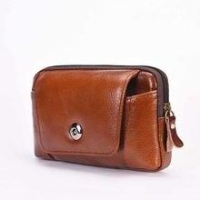 Man Genuine Leather Vertical Clothes Belt More Function Mobile Phone Pocket Business Leisure fanny pack waist hip leg bag