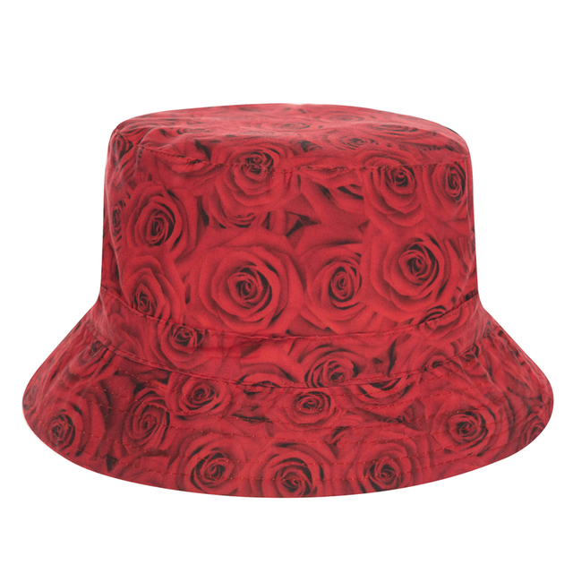 378ead10da9 ... new arrivals hot sale harajuku flat bucket hats printed rose donuts  style beach hat causal cops