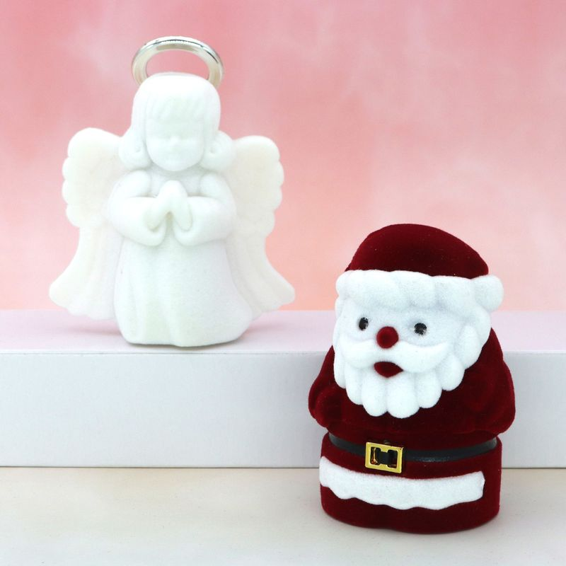 Velvet Lovely Angel Santa Claus Christmas Necklace Ring Earrings Casket Present Gift Boxes For Jewellry Wrap Holder Wholesale
