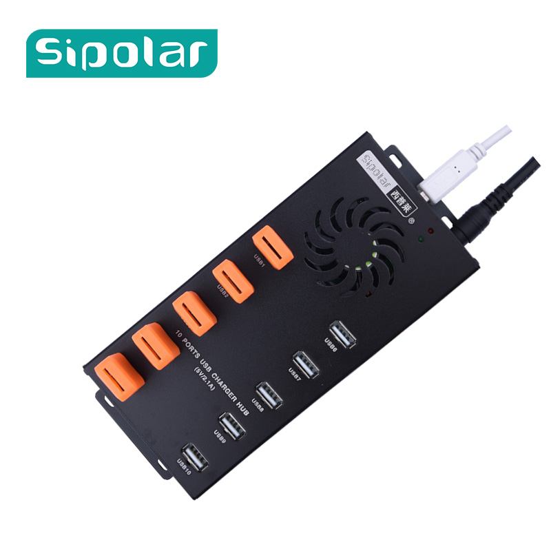 Sipolar USB 10 Port HUB 2.0 Charger With 12V 10A Power Adapter Data Transfer Syncs And Charging For Cryptocurrency Miners A-400