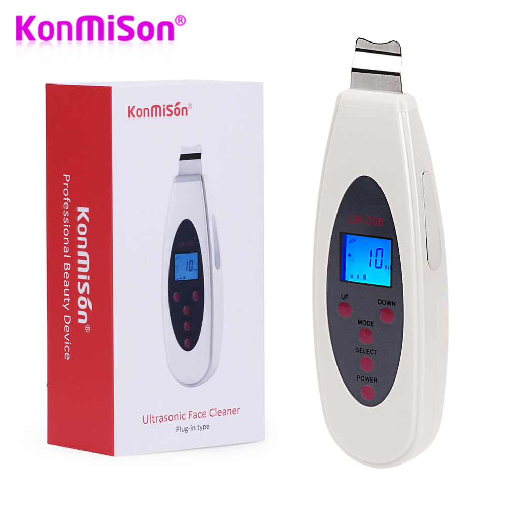 Konmison Ultrasonic Skin Scrubber Cleanser Face Cleansing Acne Removal Facial Massager Ultrasound Peeling Clean Tone Lift(China)