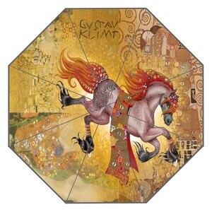 Image 2 - חדש מותאם אישית הנשיקה גוסטב קלימט יצירות אמנות מטריית שמש קרם הגנה אנטי Uv מטריית # QAZ098K