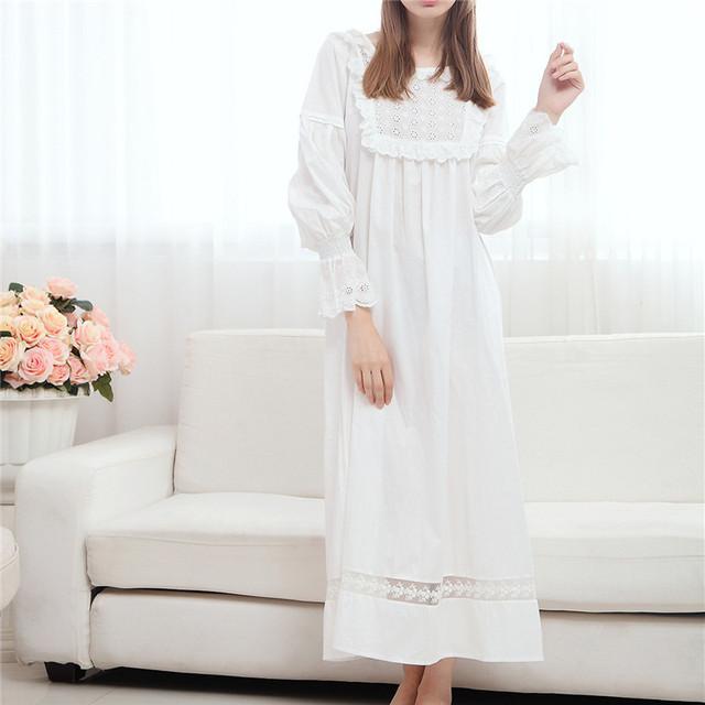 2017 Verão Longo Algodão Camisola Princesa Salão Sono Mulheres Camisão Branco Início Vestido Sleepshirts Nightdress Feminino Do Vintage