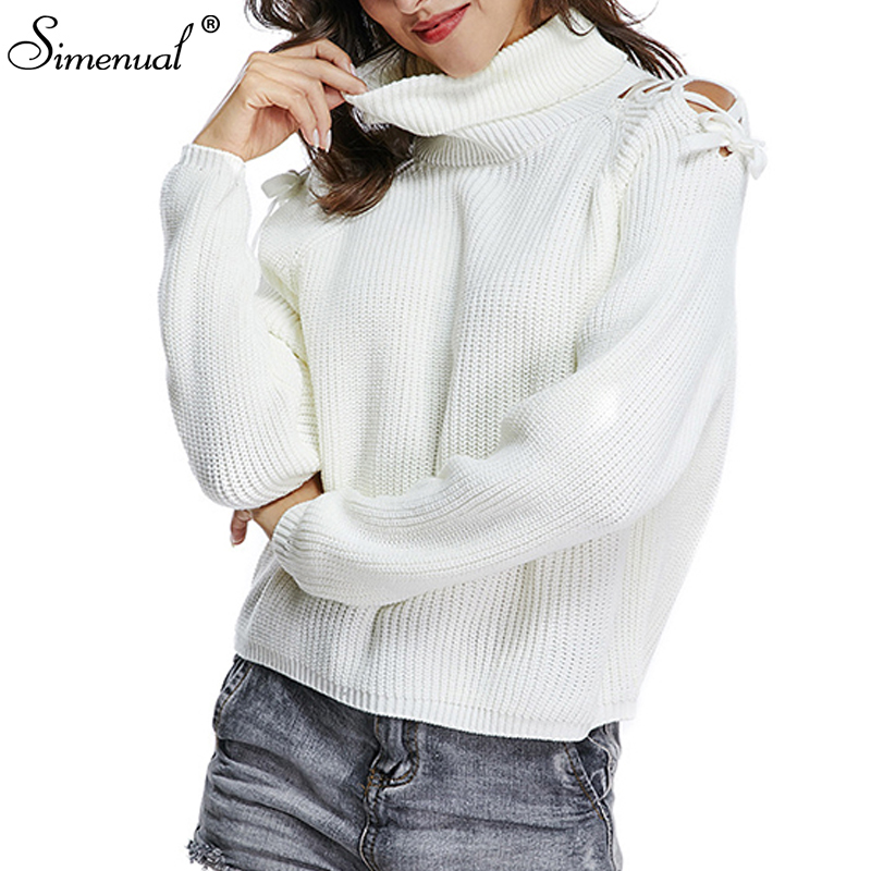 bb787cab86 Simenual Turtlenecks sweaters for women with open shoulders autumn winter  knitted jumpers long sleeve white pullover