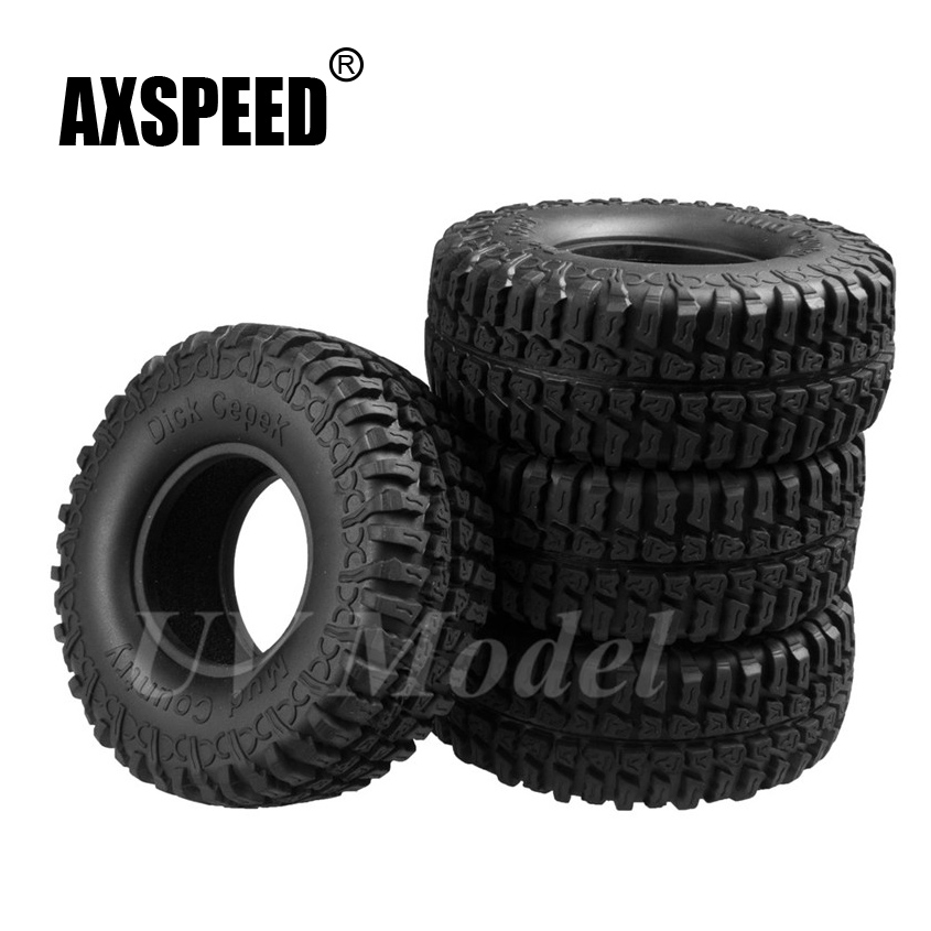 4pcs RC Crawler 1:10 Wheel Rubber Tires 1.9 Crawler Tyres 100mm for tamiya cc01 RC4WD AXIAL SCX10 1/10 RC Rock Truck Car Tyres mxfans rc 1 10 2 2 crawler car inflatable tires black alloy beadlock pack of 4