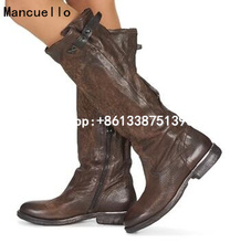 Western Style Brown Round Toe Knee High Boots Women Chunky Heels Genuine Leather Shoes Woman Retro Riding Boots Size 35-41
