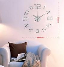 New Arrival 10EM109S Modern Fashion sticker EVA kitchen wall clock Silver numeral large decorative 3d diy wall clock big