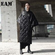 [EAM] 2020 Neue Frühling Herbst V kragen Drei viertel Sleeve Solide Farbe Bandage Baumwolle gepolsterte große Größe Mantel Frauen Mode JD18601