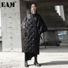 [EAM] 2020 New Spring Autumn V collar Three quarter Sleeve Solid Color Bandage Cotton padded Big Size Coat Women Fashion JD18601