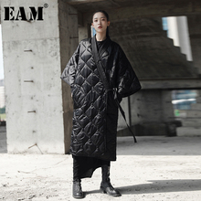 [EAM] 2020 새로운 봄 가을 V 칼라 일곱 Sleeve 솔리드 컬러 붕대 코튼 패딩 빅 사이즈 코트 여성 패션 JD18601