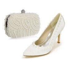 Elegant spitz satin perlen kleid schuhe passenden perle clutch tasche ivory farbe party prom cocktail braut hochzeit outfit