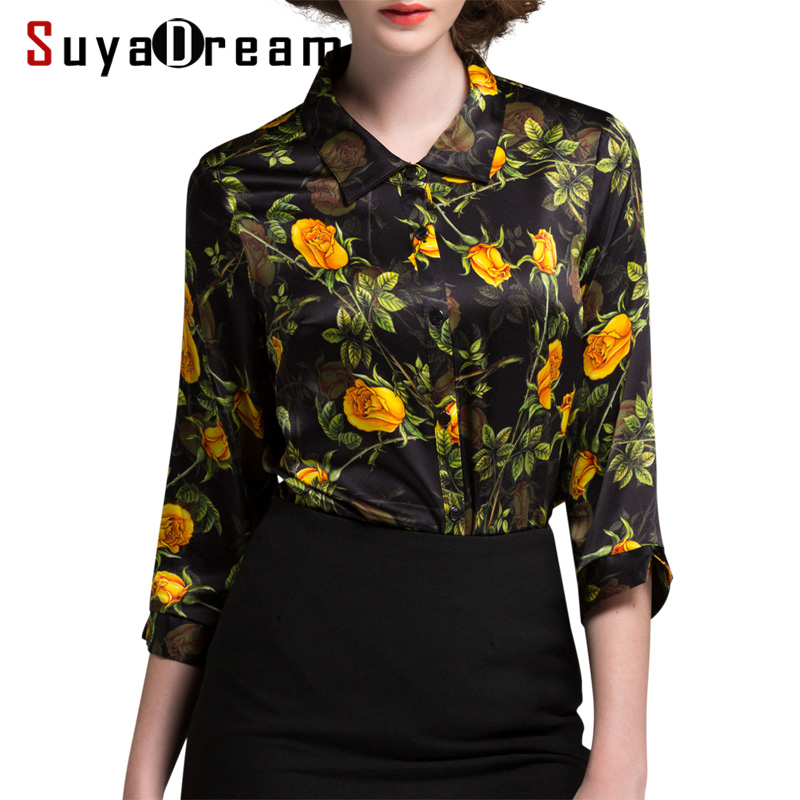 Women SILK SHIRT 94 Natural silk 6 Spandex Floral Printed 3 4 sleeved OFFICE LADY Shirt