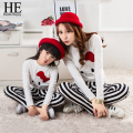 HE Hello Enjoy mother and daughter clothes 2017 family matching outfits white cute cat clothes+tight striped Pants
