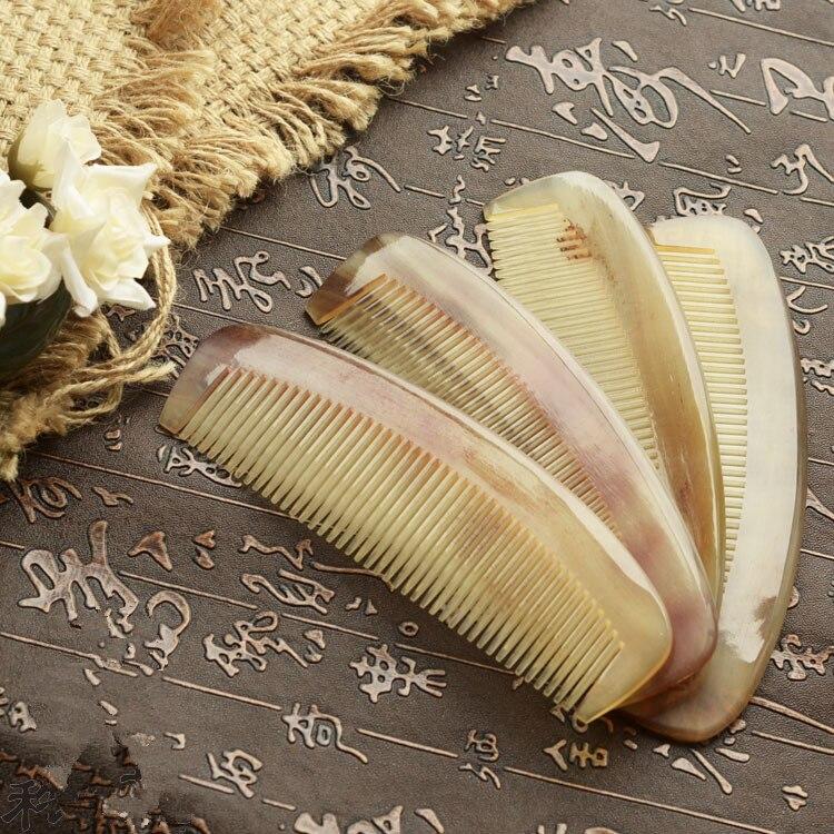 Купить с кэшбэком 1PC Natural Color Translucent Sheep Horn Handmade half-moon Massage Smooth Hair Comb G0425