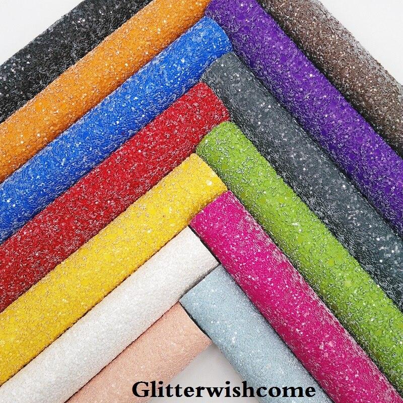 Glitterwishcome 21X29 см A4 размер сплошной цвет массивная блестящая кожа синтетическая кожа искусственная кожа ткань винил для бантов, GM026A