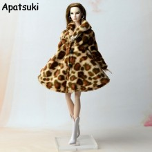 Doll Clothes Fashion Coat Winter Wear Clothing Leopard Outfit Clothes Dress For Barbie Doll Best Gift For Girl' Doll Snowsuit(China)