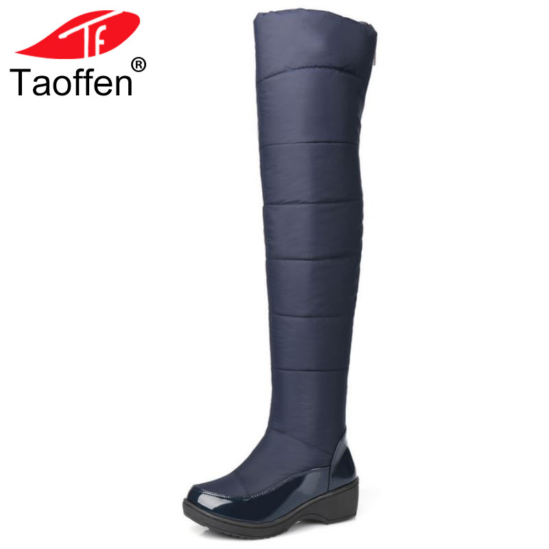 Taoffen New Women's Over Knee High Winter Boots Female Rubber Sole Warm Fur Shoes Outdoor Dress Platform Snow Boots Size 35-40 цена