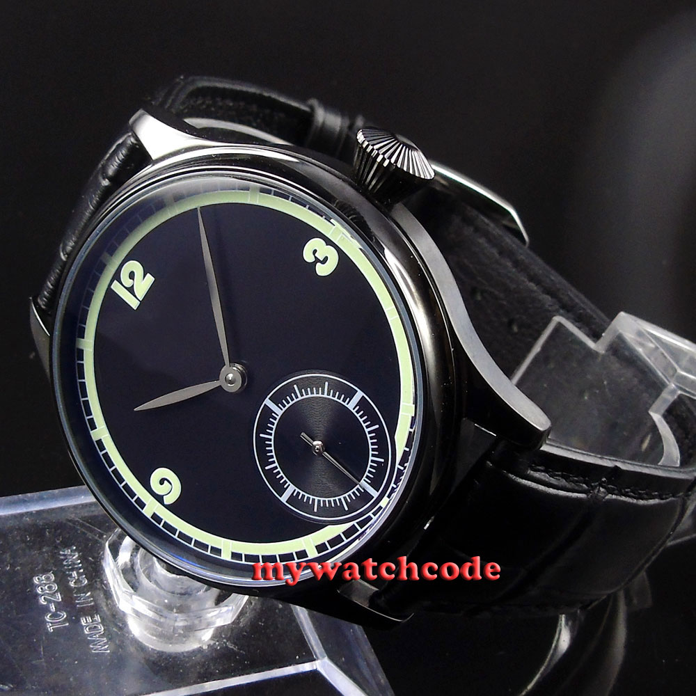 44mm Corgeut black sterile dial luminous PVD 6498 hand winding mens watch C23 44mm black sterile dial green marks relojes 6497 mens mechanical hand winding watch luminous armbanduhr cm164bk