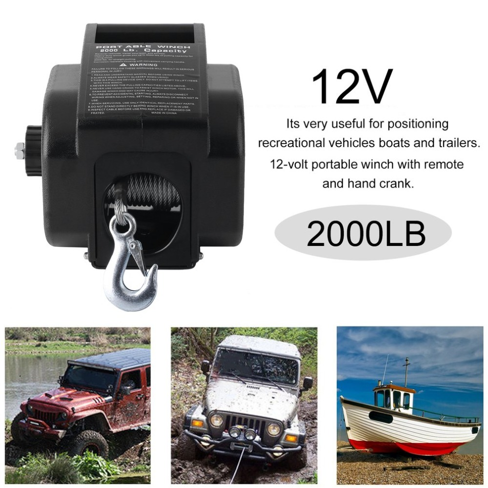 Heavy Duty Professional 12V Max Load 2000LB Boat Trailer Electric Recovery Winch Car Vehicle ATV Quad Puller Windlass Hand Tool hot sale high quality 2000lb electric winch kits for atv utv off road vehicle 12v differential planetary