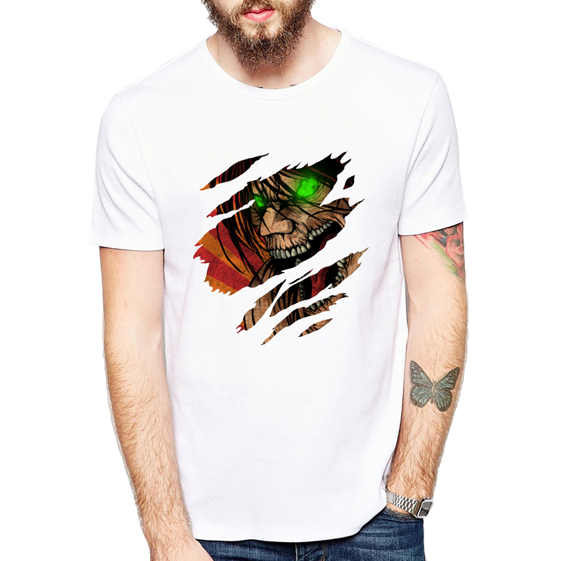 Fashion New Attack on Titan T-shirt Fancy Boy t shirt Armored Titan Anime Summer Men's Tops Cosplay Clothing
